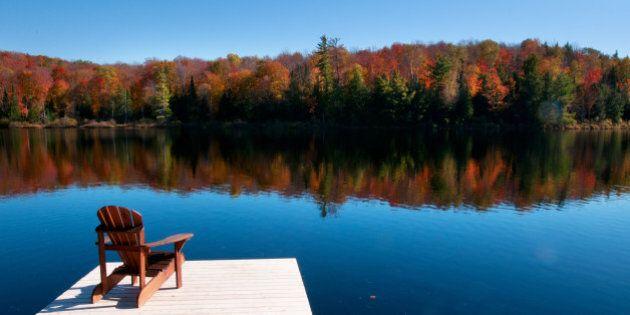 Wooden dock on autumn