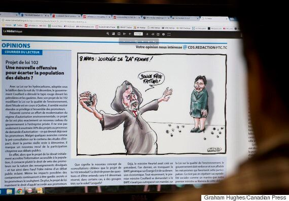Le Courrier du Sud, Montreal Paper, Removes Women's Day Cartoon Of Premier Stoning