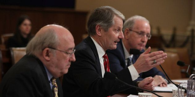 WASHINGTON, DC - JANUARY 24:  (L-R) Resident fellow Thomas Miller of American Enterprise Institute, senior fellow John Graham of the National Center for Policy Analysis, and Professor of Practice Dr. John McDonough of Department of Health Policy and Management at Harvard TH Chan School of Public Health, testify during a hearing before the Oversight Subcommittee of the House Ways and Means Committee January 24, 2017 on Capitol Hill in Washington, DC. The subcommittee held a hearing on 'Examining the Effectiveness of the Individual Mandate under the Affordable Care Act.'  (Photo by Alex Wong/Getty Images)