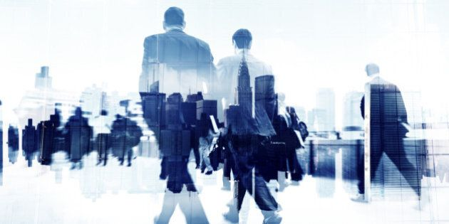 Abstract Image of Business People Walking on the