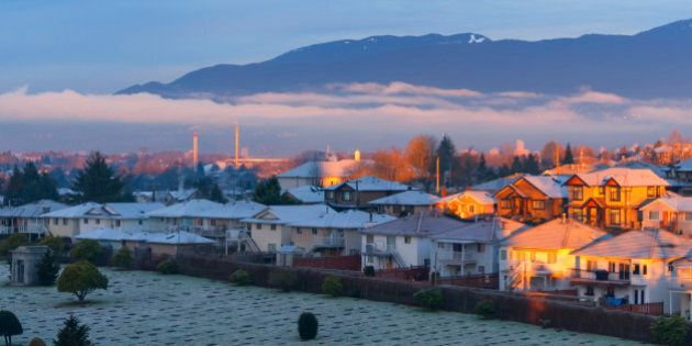 Beautiful shot of North Shore mountains from North Burnaby in Greater Vancouver, British Columbia,