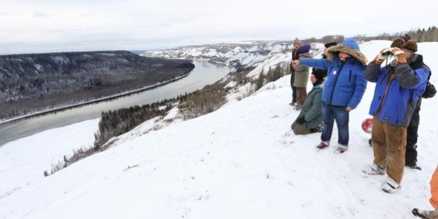 FORT ST. JOHN, BC - MAR. 4: Fort Saint John, ON - MARCH, 5 - Protestors look over the Site C hydroelectric...