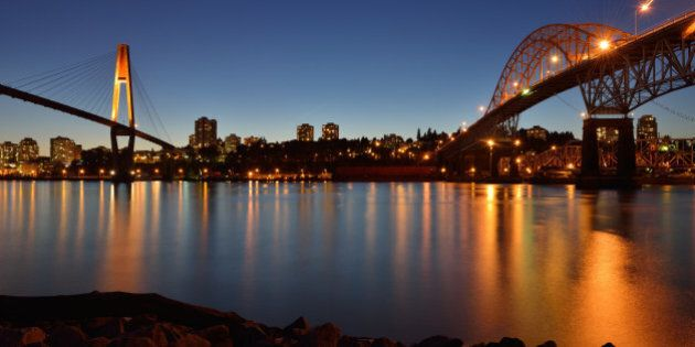 Pattullo Bridge and the Skybridge between New Westminster and
