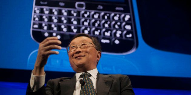 John Chen, chief executive officer of BlackBerry Ltd., speaks during the unveiling of the Classic smartphone...