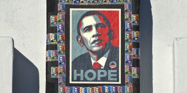 Barack Obama campaign poster on building, Albuquerque,