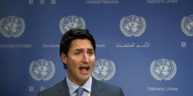Canadian Prime Minister Justin Trudeau participates in a press briefing during the 71st Session of the...
