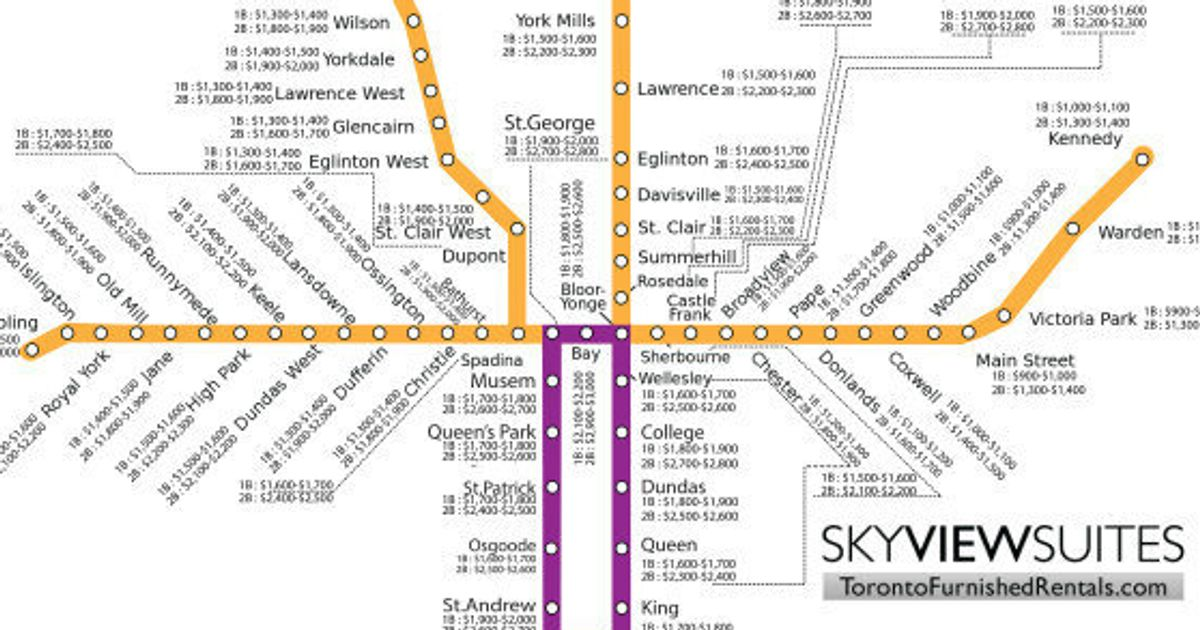 Subway Map Rent.Toronto Rent Map Shows Subway Stops Determine What You Pay