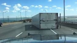High Winds Topple Over Massive Truck On Ontario