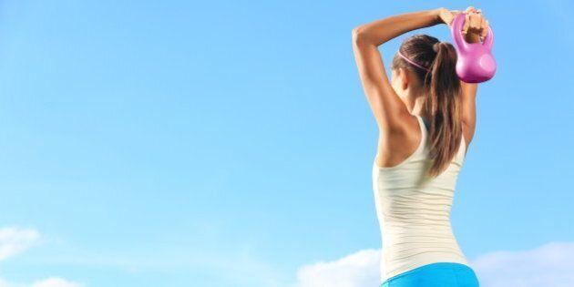 fitness woman using kettlebells