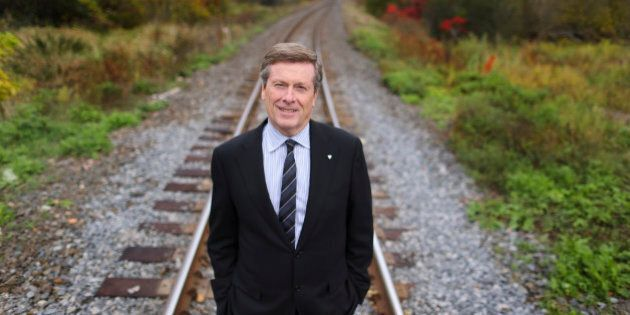 TORONTO, ON - OCTOBER 17: - Mayoral Candidate John Tory is advocating increasing use of existing rail...