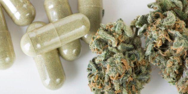 Dried marijuana and green