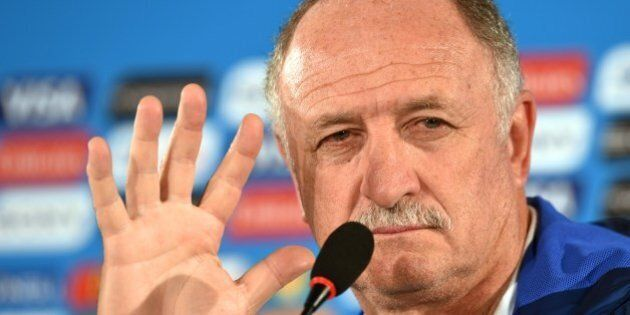 Brazil's coach Luiz Felipe Scolari gives a press conference at the Mane Garrincha National Stadium in...