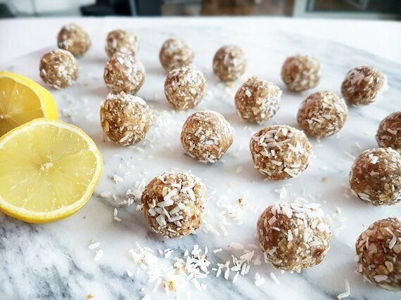 Lemon Coconut Energy Balls And Chocolate Peanut Butter Energy