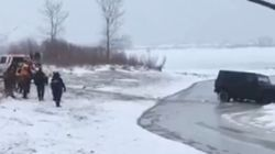 'Adventurous' Driver Ends Up In Frozen Lake