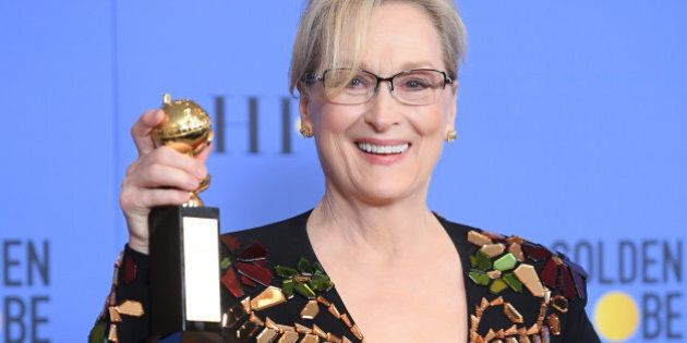 BEVERLY HILLS, CA - JANUARY 08: Actress Meryl Streep poses in the press room during the 74th Annual Golden...