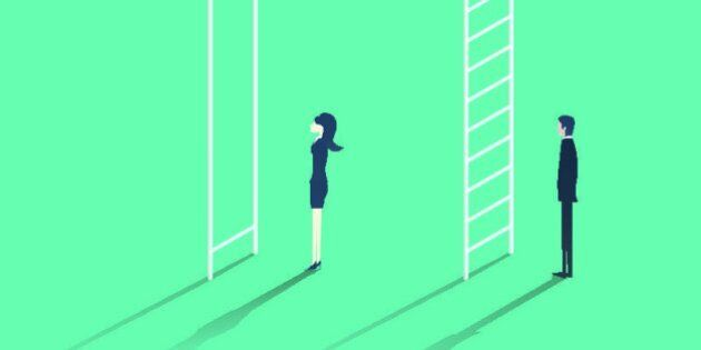 Business woman versus man corporate ladder career concept vector illustration. Gender inequality issue...