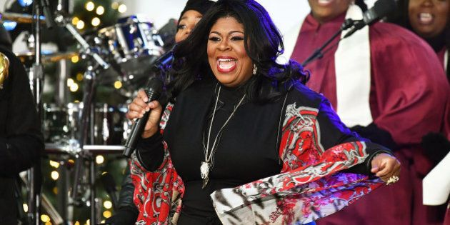 NEW YORK, NY - DECEMBER 09: Gospel singer Kim Burrell performs on NBC's 'Today' at Rockefeller Center...