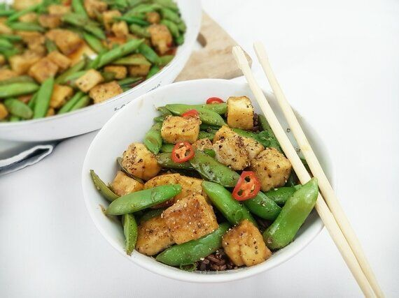 Crispy Black Pepper And Maple Tofu And Snap Pea