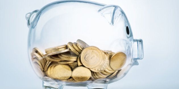 Seeing through piggy bank with money