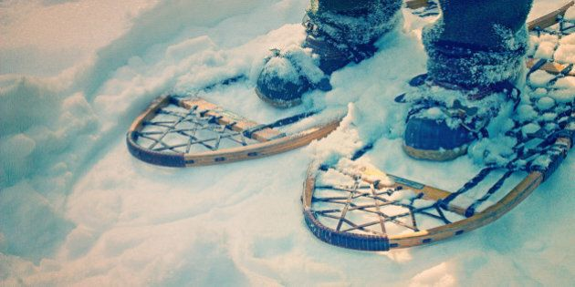 Ash snowshoes, Maine North Woods, winter,