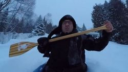 ► Backyard Snow Kayaking Goes As Well As You'd