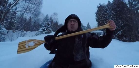 Backyard Snow Kayaking Goes As Well As You'd
