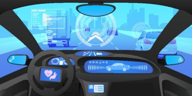 Automobile cockpit, various information monitors and head up displays. autonomous car, driverless car, driver assistance system, ACC(Adaptive Cruise Control), vector illustration
