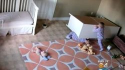 Remarkable Footage Shows Toddler Saving Twin From Fallen