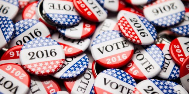 Close up of Vote 2016 election buttons, with red, white, blue and stars and stripes.