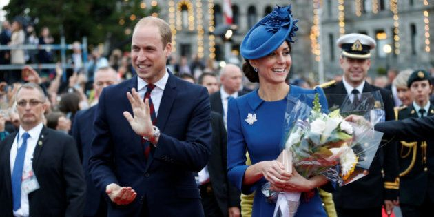 Britain's Prince William, and Catherine, Duchess of Cambridge, attend a welcome ceremony at the British...
