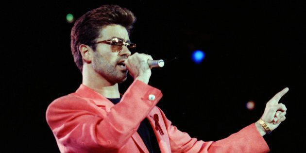 Singer George Michael performs at the Freddie Mercury Tribute Concert for AIDS Awareness, at Wembley...