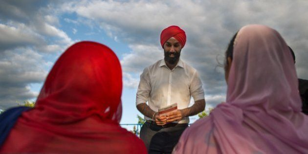 TORONTO, ON - AUGUST 21: Liberal candidate Raj Grewal works the riding by canvassing for support in Brampton...