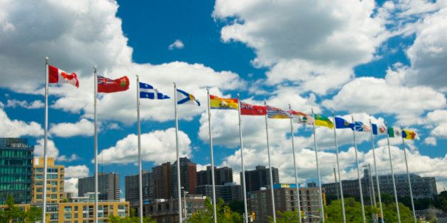 Canadian, Provincial and Territorial Flags, Ottawa, Ontario, Canada.