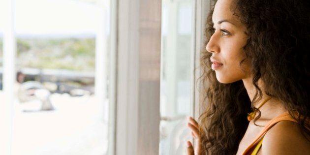 Woman daydreaming at