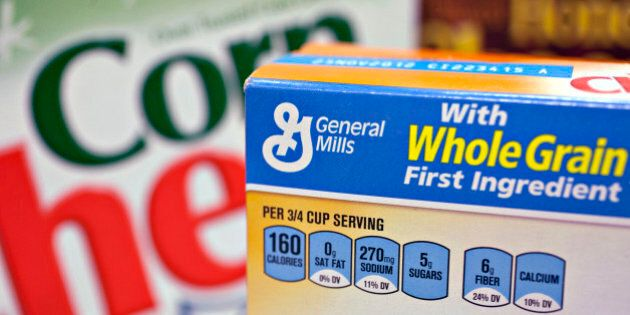 Boxes of General Mills Inc. Honey Nut Cheerios and Corn Chex cereal are arranged for a photograph in Washington, D.C., U.S., on Friday, Feb. 17, 2012. General Mills Inc., the maker of Cheerios cereal and Yoplait yogurt, reduced its earnings forecast for its current fiscal year as weak demand and rising costs squeeze food producers. Photographer: Andrew Harrer/Bloomberg via Getty Images