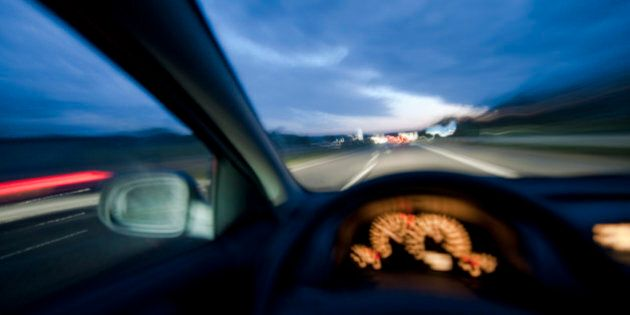 Driving on an autobahn at