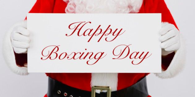 Santa Claus holding Happy Boxing Day