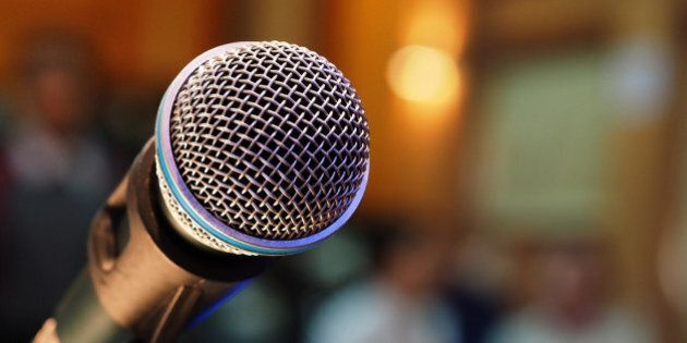 microphone in meeting room and blurred
