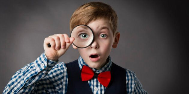 Child See Through Magnifying Glass, Kid Eye Looking with Magnifier Lens, Gray