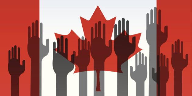 Canada Flag with Volunteering Hands illustration.  Check out my 'Conceptual Flags' light box for more.
