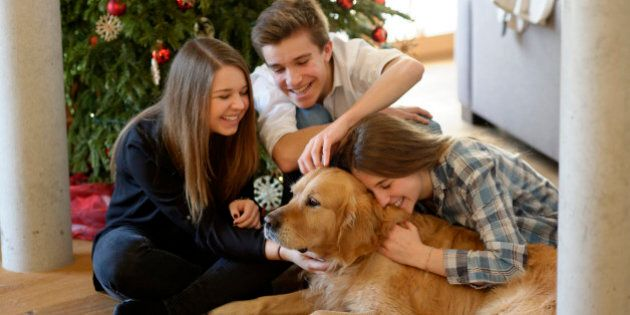 Three young friends cuddling with Golden Retriever on the floor of living room at Christmas