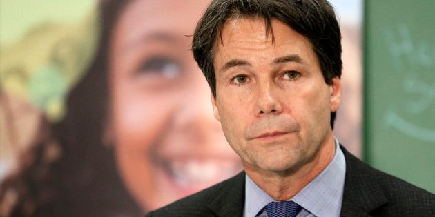 TORONTO, ON - APRIL 26 - Students at Lord Dufferin Public School with Health Minister Eric Hoskins re-launches...