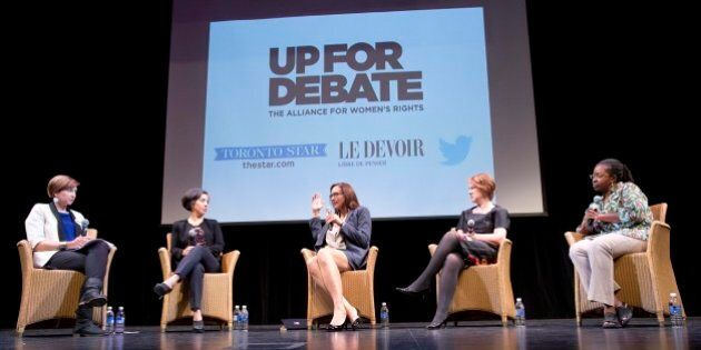TORONTO, ON - SEPTEMBER 21: Toronto, On- Sep 21, 2015Moderator Laura Payton(left) and panelists Alejandra...
