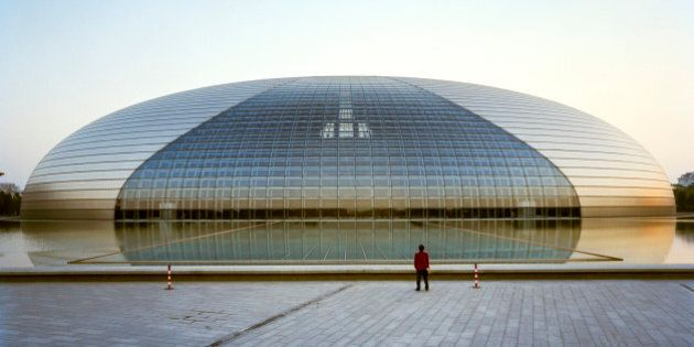 This is the National Grand Theater in Beijing China, also known as 'the Egg'. It is located a block to...