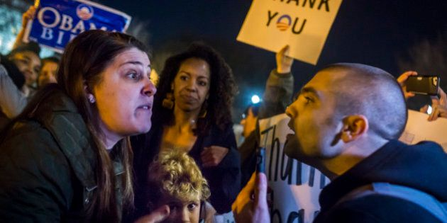 WASHINGTON DC, DISTRICT OF COLUMBIA, UNITED STATES - 2017/01/19: On the eve before Donald Trump is sworn in as the 45th President of the United States, in a pre-inauguration protest on January 19, 2017, hundreds of activists surrounded the Alt-Right 'Deploraball,' which was taking place inside the National Press Club in Washington D.C. (Photo by Michael Nigro/Pacific Press/LightRocket via Getty Images)