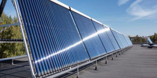 Estonia, solar panels on the roof of newly built kindergarten