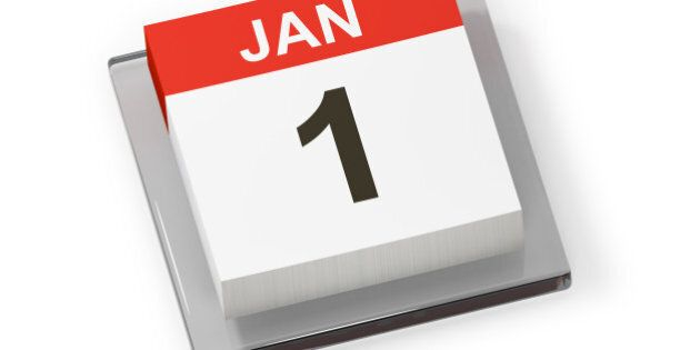 Calendar page shows January 1st for first day of new year isolated on white background with clipping