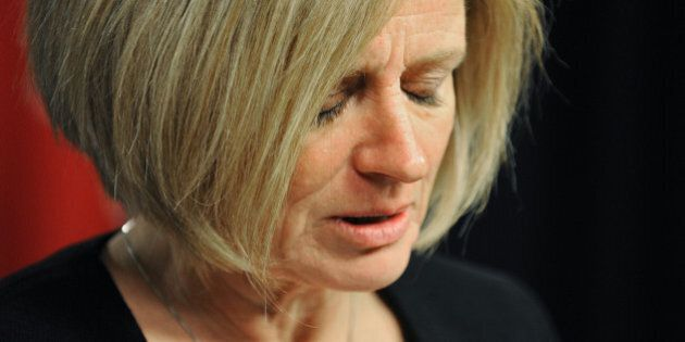 Alberta Premier Rachel Notley speaks to the media on the death of former Alberta Premier Jim Prentice,...