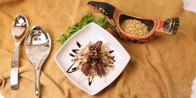 TORONTO, ON - JULY 7: Venison kebabs detail shot. Aboriginal chef David Wolfman comes to cook 1-2 dishes...