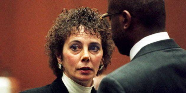 LOS ANGELES, CA - JANUARY 26: Lead prosecutor Marcia Clark (L) talks with fellow prosecutor Christopher...